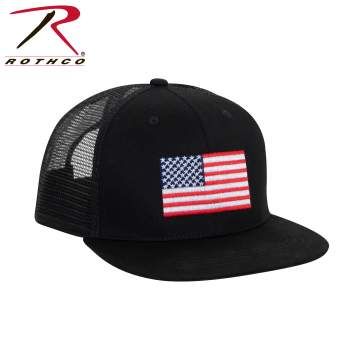 Rothco's US Flag Trucker Cap, trucker cap, us flag cap, us flag hat, trucker hat, trucker caps, us flag trucker cap, us flag trucker hat, adjustable caps, adjustable hats, usa flag caps, american flag hats, snap back