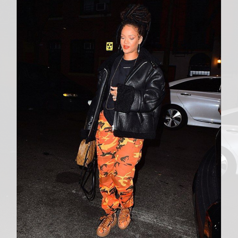 Rihanna is Savage in our Orange Camo Pants