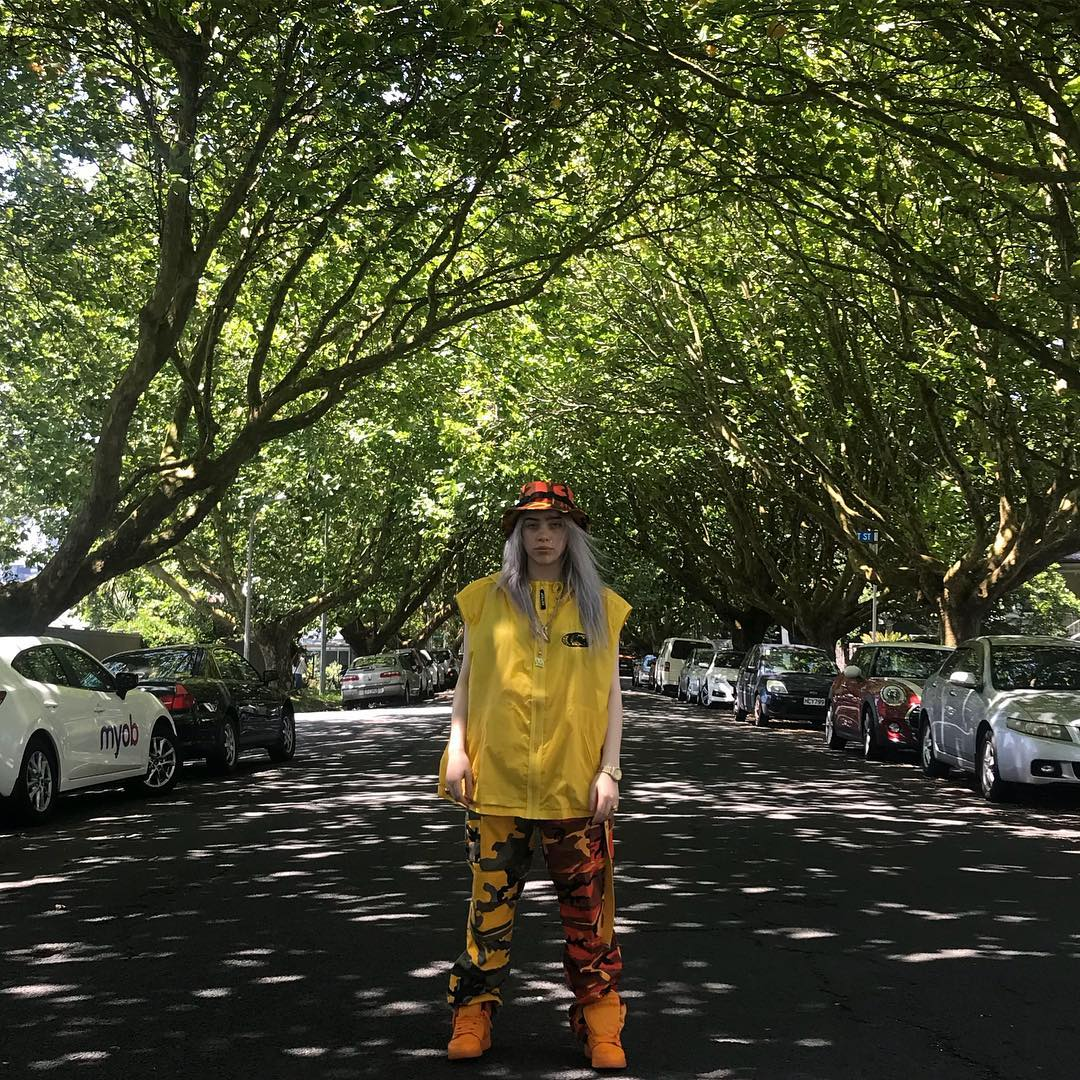 Billie Eilish in our Two-Tone Camo Pants
