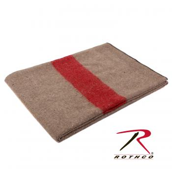 Rothco Swiss Style Wool Blanket, Tan Red Strip, blanket, wholesale blanket, wool blanket, wool, synthetic, woven, fire retardant, military blanket