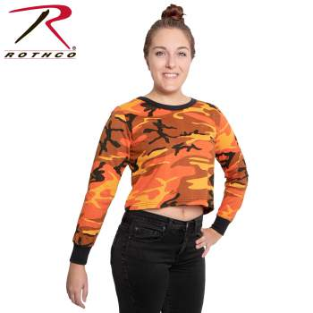 rothco womens camo long sleeve crop top, rothco camo crop top, rothco crop top, long sleeve crop top, long sleeve camo crop top, camo crop top, cropped tshirt, cropped long sleeve tee, cropped tee, crop top, womens crop top, girls crop top, ladies crop top, short tee, shortened tshirt, cropped tee, camo cropped tee