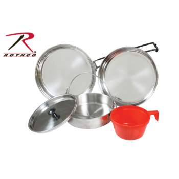 Rothco 5 Piece Stainless Steel Mess Kit, mess kit, mess kits, military mess kit, army style mess kit, camping mess kit, us army mess kit, military gear, military supplies, camping supplies, camping gear, steel mess kit, stainless mess kit, stainless steel mess kit, metal mess kit, outdoor mess kit,
