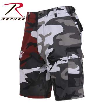 Military BDU Shorts, BDU cargo shorts, Army surplus cargo shorts, Military Shorts, Rothco Shorts, Military camo shorts, army cargo shorts, surplus shorts, military style shorts, army fatigue shorts, Colored Camo Shorts, Red Camo Shorts, Cty Camo Shorts, Woodland Color shorts, Tri-Color Shorts, Stinger Yellow Shorts, Savage Orange Shorts, Ultra Violet Purple, two-tone camo, split camo, two tone camo, two color camo, two tone shorts, two tone short