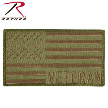 Rothco Veteran US Flag Patch - Coyote Brown, US Flag Patch, united states flag patch, American flag patch, flag patch USA, American flag embroidered patch, flag patches, army uniform patch, military American flag patch, American velcro patch, military patches, army patches, veteran patch, veteran flag patch