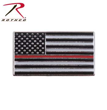 Rothco thin red line flag pin, thin red line pin, red line pin, firefighter pin, thin red line, thin red line flag pin, flag pin, firefighter flag pin, red line flag pin, thin red line flag, American Flag, support, lapel pin, iron pin,<br />