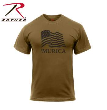 rothco murica us flag t-shirt, murica us flag t-shirt, us flag tshirt, flag shirt, american flag shirt, murica shirt, murica, american flag t-shirt, merica tshirt, american t shirt, patriotic clothing, coyote brown, brown, athletic fit, American flag shirt,