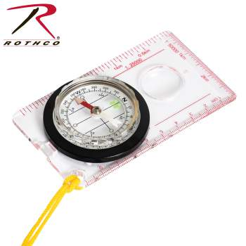 Rothco Map Compass, compass, map compass, navigation, large compass, lanyard compass,  clear compass, acrylic plate compass, plastic compass, travel compass, camping compass, survival compass, outdoor compass
