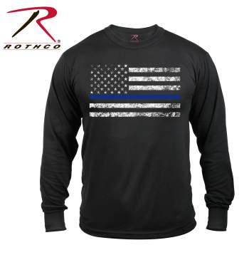 rothco long sleeve thin blue line t-shirt, thin blue line, thin blue line long sleeve, thin blue line t-shirt, thin blue line long sleeve t-shirt, police shirts, thin blue line t shirt, thin blue line shirts, thin blue line apparel, law enforcement shirt, police tees, law enforcement t shirts