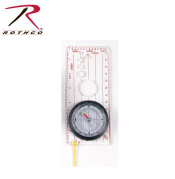 Rothco Deluxe Map Compass, Map Compass, Compass, Large Compass, Lanyard Compass, Clear Compass, Plastic Compass, Travel Compass, Survival Compass, Camping Compass, Outdoor Compass