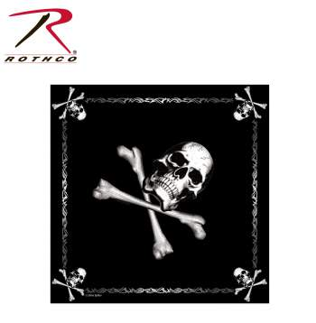 Rothco Jolly Roger Bandana, Rothco Bandana, scarf, scarves, bandana, durag, bandanas, jolly roger, cotton, cotton bandana, bandana scarf, facemask, face mask, scrub hat, scrub cap, du-rag, dorag, du rag, skull and crossbones bandana, skull bandana, skull bandana mask, dust mask, skeleton bandana, skeleton bandana mask, crossbones mask, pirate bandana, head scarf bandana,