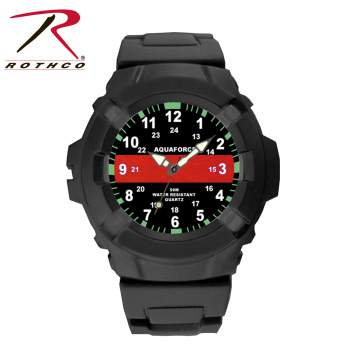 aquaforce thin red line watch, thin red line watch, thin red line, aquaforce watch, aqua force watch, thin red line watches, thin red line gear, thin red line accessories, firefighter support watch, firefighter watches, thin red line wrist watch, thin red line wrist watches