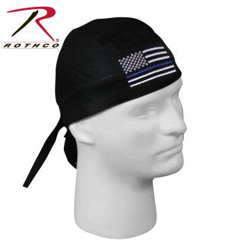 Rothco Thin Blue Line Flag Headwrap, thin blue line headwrap, headwrap thin blue line, thin blue line headband, blue headband, headwrap, thin blue line flag, tie headwrap, cotton headwrap, head wrap, rothco headwrap, scrub cap, scrub hat, or scrub cap, surgical scrub cap