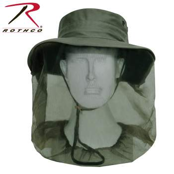 Rothco's Adjustable Boonie Hat With Mosquito Netting, mosquito net hat, hat with mosquito netting, sun hat with netting, mosquito protection, sun protection, sun hats, boonie hats, outdoor hats, military hats, bucket hat, mosquito net head gear