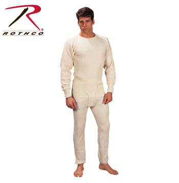 Rothco,Thermal,Underwear,Top,mens thermals,thermal wear,thermal top,long johns,natural,natural thermal,thermal shirt,white,off white. Poly cotton,heavyweight,extra heavy,insulated underwear