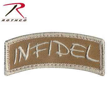Rothco Infidel Shoulder Patch, Hook Backing, hook and loop, infidel, airsoft patch, patch, patches, wholesale patches, tactical patches, military morale patches, funny morale patches, moral patch, military velcro patches, tactical airsoft morale patches, airsoft morale patches, airsoft patches, morale patch