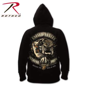 Rothco,Black,Ink,USMC,Bulldog,2-sided,Hooded,Pullover,Sweatshirt,hoodies,marines,black ink,hooded sweatshirt,Fleece-lined sweatshirts,Graphic Printed sweatshirts,Military Sweatshirts,Military Hoodies,fleece-lined