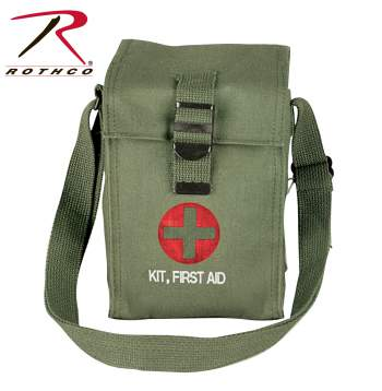 Rothco Pouch, Platoon Leader 1st Aid, olive drab, pouch, pouches, first aid, first aid kit, platoon leader first aid kit, olive drab first aid pouch, heavy canvas shoulder bag, canvas shoulder bag
