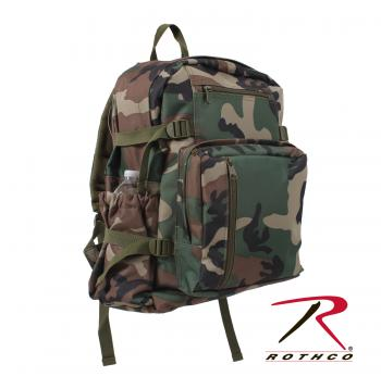 Rothco Woodland Camo Backpack, backpack, back pack, camo back pack, camouflage, wholesale backpack, bags, polyester, padded shoulder straps, molle straps, molle, m.o.l.l.e., molle bags, school back packs, packs, military packs, camo packs,