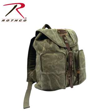 canvas backpack,canvas back pack,pack,backpack,vintage canvas pack,vintage canvas,military canvas backpack,backpack with leather accents,stone washed canvas,stone washed canvas pack,